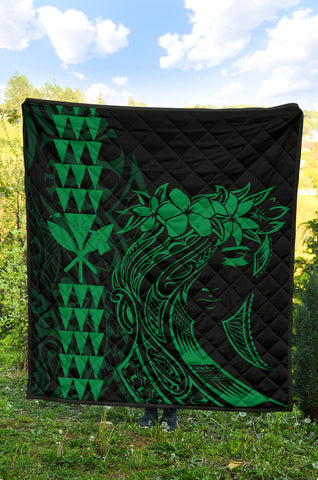 Hawaii Map Kanaka Polynesian Hula Girl Premium Quilt - Green - AH - J5