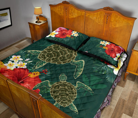 Hawaii Sea Turtle Hibiscus Plumeria Quilt Bed Set - AH - J4 - Alohawaii