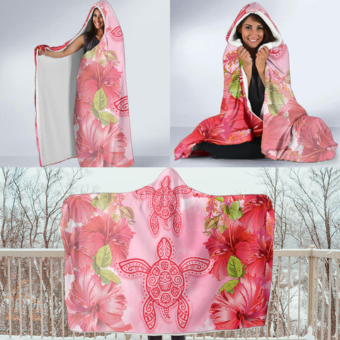 Hawaii Turtle Hibiscus Hooded Blanket - Pink Style - AH - J4