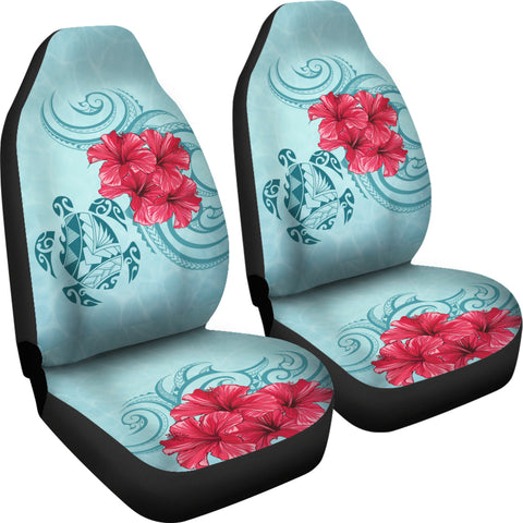 Hawaii Polynesian Turtle Hibiscus Blue Car Seat Cover - Bless Style - AH - J4