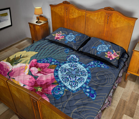 Hawaii Turtle Hibiscus Quilt Bed Set - AH - J3