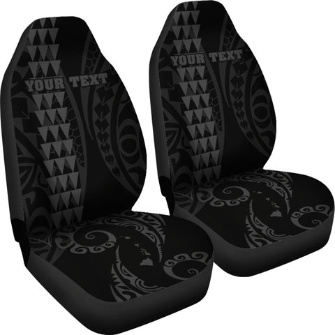 Image of Personalized Hawaii Car Seat Covers Kakau Large Polynesian Gray AH J1