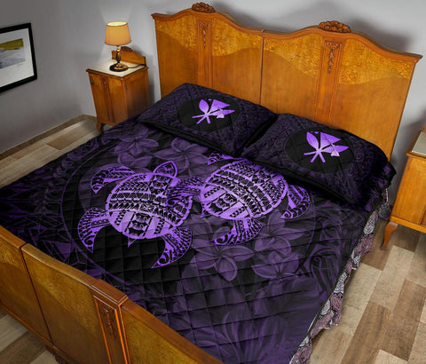 Alohawaii Quilt Bed Set - Turtle Strong Pattern Hibiscus Plumeria Violet AH J1