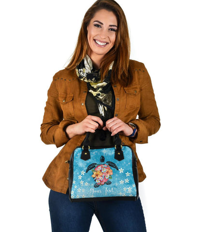 Personalized - Hawaii Turtle Hibiscus Plumeria Blue Shoulder Handbag - AH - J4 - Alohawaii