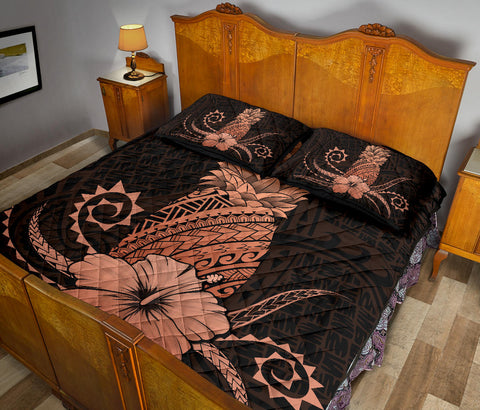 Hawaii Polynesian Pineapple Hibiscus Quilt Bed Set - Zela Style Orange - AH - J4