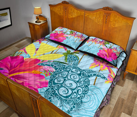 Hawaii Sea Turtle Hibiscus Kanaka Quilt Bed Set - AH - J4