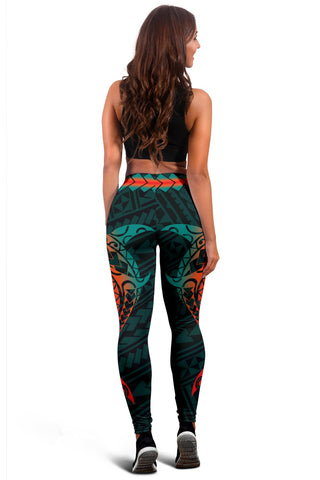 Image of Hawaiian Plumeria Shark Polynesian Women's Leggings