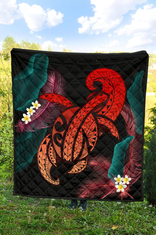 Hawaii Turtle Polynesian Tropical Premium Quilt - Ghia Style Red - AH - J4