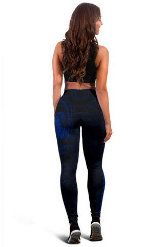 Image of Hawaii Turtle Shark Polynesian Leggings - Blue - AH J4
