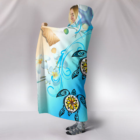 Hawaii Fresh Beach Turtle Plumeria Hooded Blanket - AH - Brian Style - J5