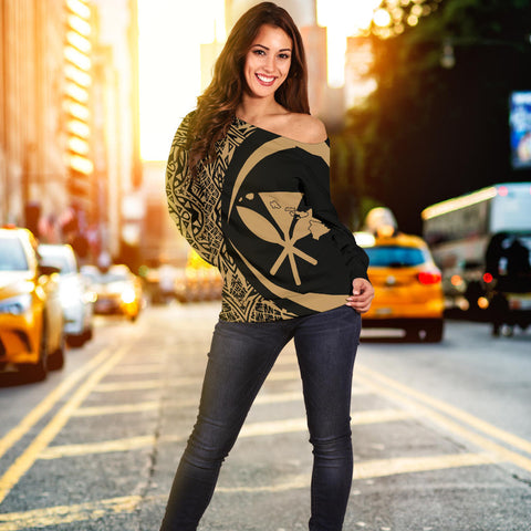 Gold Polynesian Women Off Shoulder Sweater