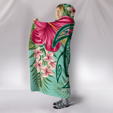 Hawaii Turtle Hibiscus Plumeria Hooded Blanket - Hug Style - AH - J4