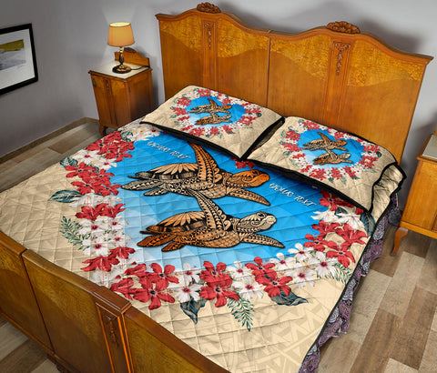 (Personalised) Hawaii Turtle Hibiscus Polynesian Valentines Quilt Bed Set - Life Style - AH - J4