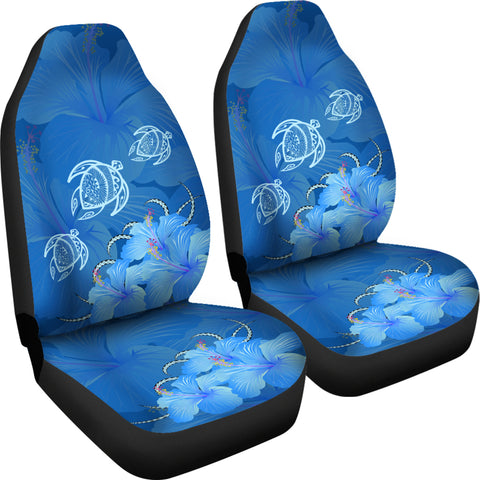 Hawaii Blue Hibiscus Turtle Polynesian Car Set Cover - AH - J4