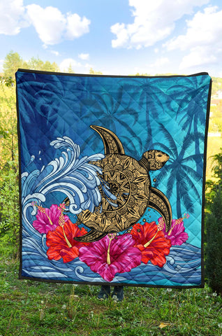 Image of Hawaii Sea Turtle Hibiscus Coconut Tree Premium Quilt - AH - J4 - Alohawaii
