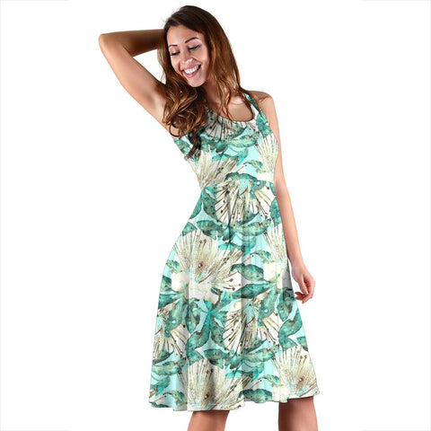 Hawaii Tropical Blue Midi Dress   - AH - J71