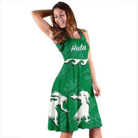 Hawaiian Hula Girls Dance in Green Midi Dress - AH J5 - Alohawaii