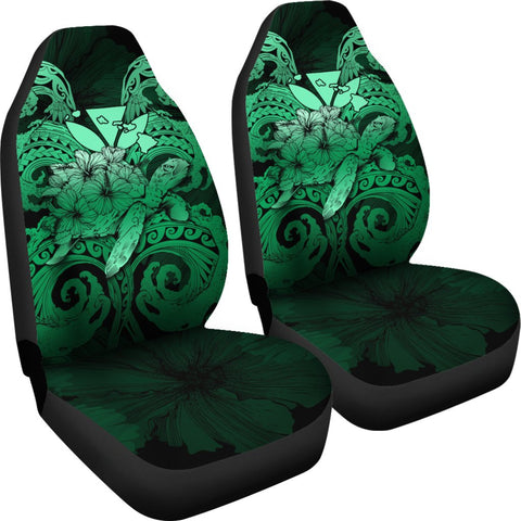 Image of Hawaii Turtle Wave Polynesian Car Seat Cover - Hey Style Green - AH - J4