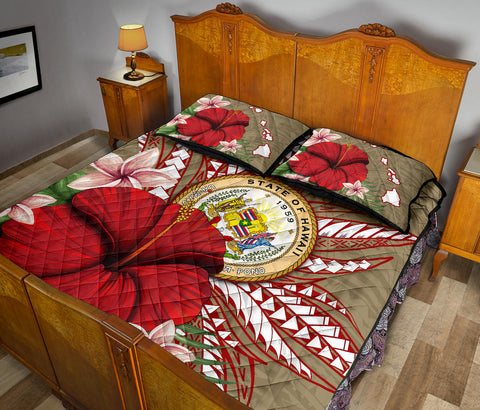 Hawaii Polynesian Coat Of Arm Tropical Quilt Bed Set - AH - J4