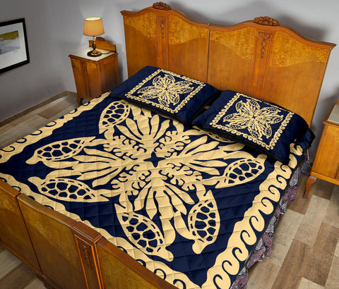 Hawaii Turtle Royal Indigo Quilt Bed Set - Dey Style - AH - J4