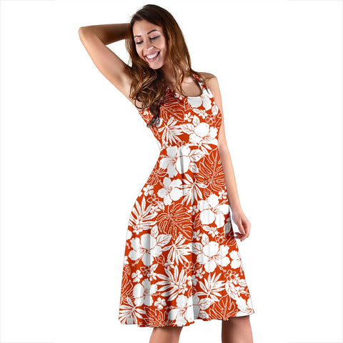 Hawaii Hibiscus Flower Pattern Midi Dress   - AH - J71
