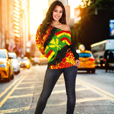 Kanaka Flag Polynesian Women's Off Shoulder Sweater - Nora Style - AH J9