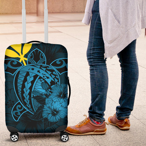 Hawaii Hibiscus Luggage Cover - Harold Turtle - Traffic Blue - AH J9