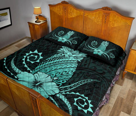 Image of Hawaii Polynesian Pineapple Hibiscus Quilt Bed Set - Zela Style Turquoise - AH - J4