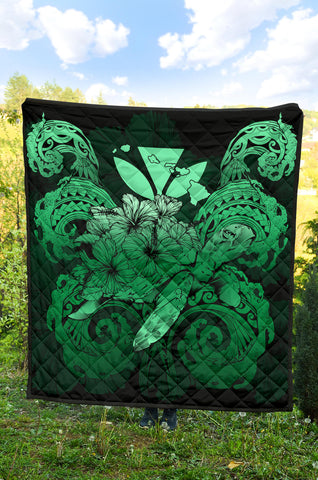 Hawaii Turtle Wave Polynesian Premium Quilt - Hey Style Green - AH - J4