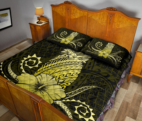 Hawaii Polynesian Pineapple Hibiscus Quilt Bed Set - Zela Style Yellow - AH - J4