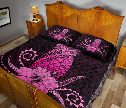 Hawaii Polynesian Pineapple Hibiscus Quilt Bed Set - Zela Style Pink - AH - J4