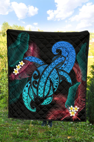 Image of Hawaii Turtle Polynesian Tropical Premium Quilt - Ghia Style Turquoise - AH - J4