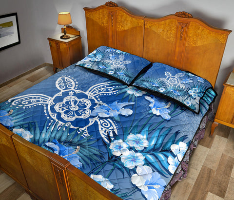 Hawaii Turtle Tropical Flower Polynesian Quilt Bed Set - Anna Style - AH - J2