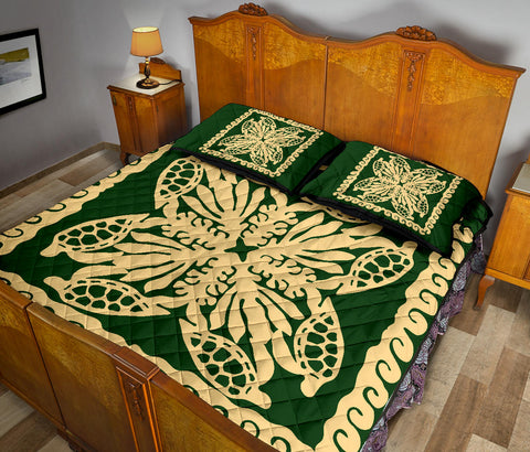 Hawaii Turtle Royal Green Quilt Bed Set - Dey Style - AH - J4
