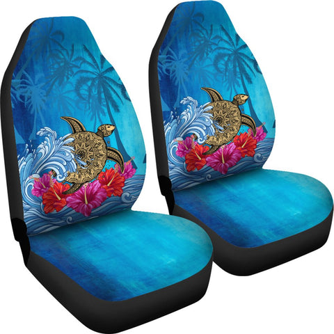 Image of Hawaii Sea Turtle Hibiscus Coconut Tree Car Seat Cover - AH - J4