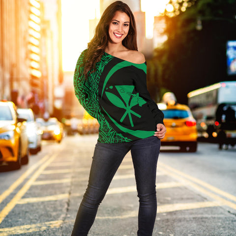 Kanaka Hawaii Map Green Polynesian Off Shoulder Sweater - Circle Style - AH J4