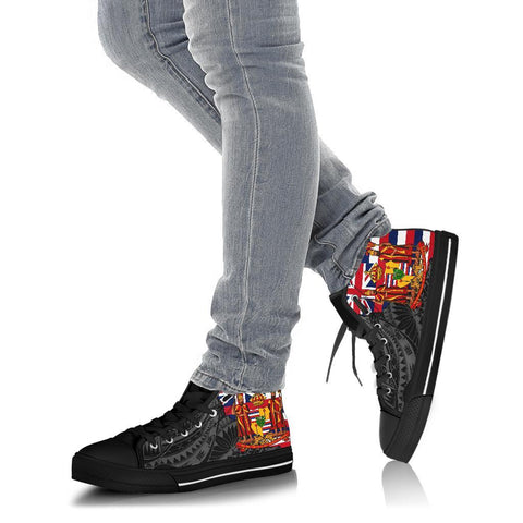 Image of Hawaii High Top Shoes State Royal Flag Polynesian Black Pride AH J1