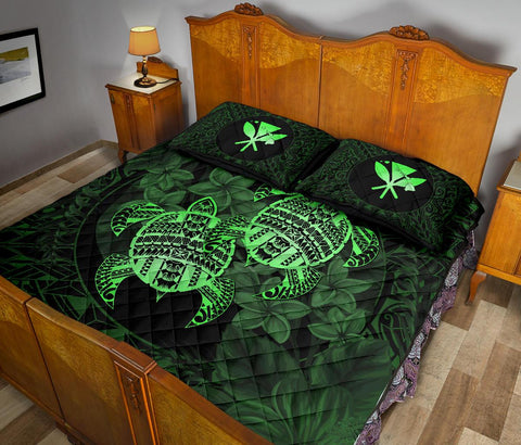 Alohawaii Quilt Bed Set - Turtle Strong Pattern Hibiscus Plumeria Green AH J1