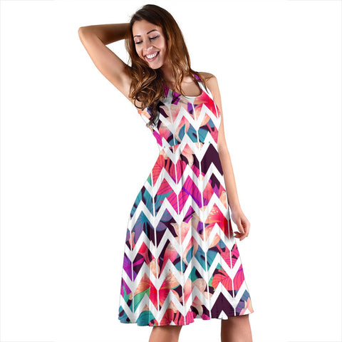 Hawaii Palm Foliage On Striped Zigzag  Midi Dress   - AH - J71 - Alohawaii