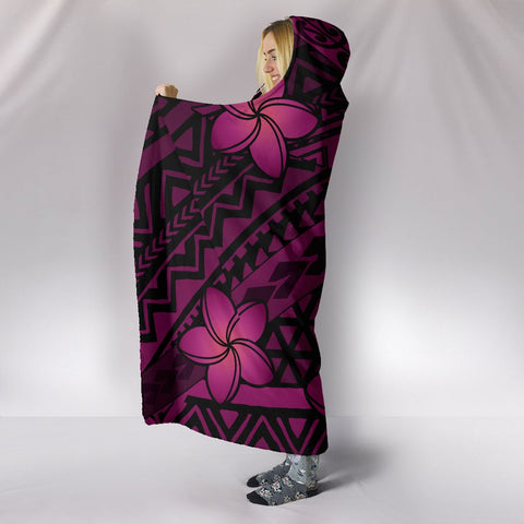 Hawaii Mix Polynesian Turtle Plumeria Hooded Blanket - AH - Nick Style - Pink - J5