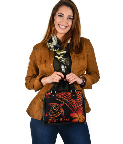 Personalized - Hawaiian Turtle Plumeria Shoulder Handbag AH J0 - Alohawaii