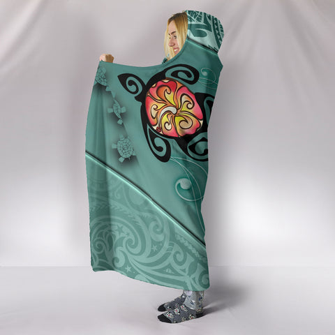 Hawaii Turtle Swimming Tribal Polynesian Hooded Blanket - AH - Min Style - J5