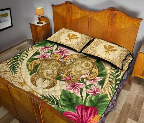 Alohawaii Quilt Bed Set - Turtle Quilt Bed Set Strong Pattern Hibiscus Plumeria AH J1