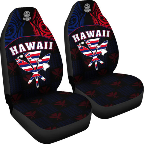 Hawaiian Kanaka Car Seat Covers Flag Nation Black Demodern AH J1