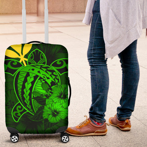 Hawaii Hibiscus Luggage Cover - Harold Turtle - Green - AH J9