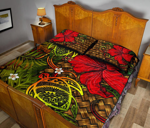 Hawaii Lauhala Hibiscus Polynesian Tropical Reggae Quilt Bed Set - Wake Style - AH - J4