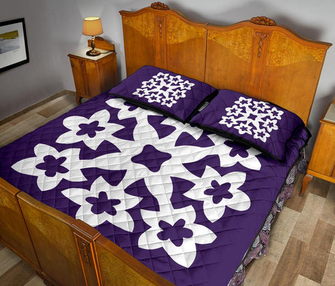 Hawaiian Quilt Bed Set Royal Pattern - Purple - A1 Style - AH - J2 - Alohawaii