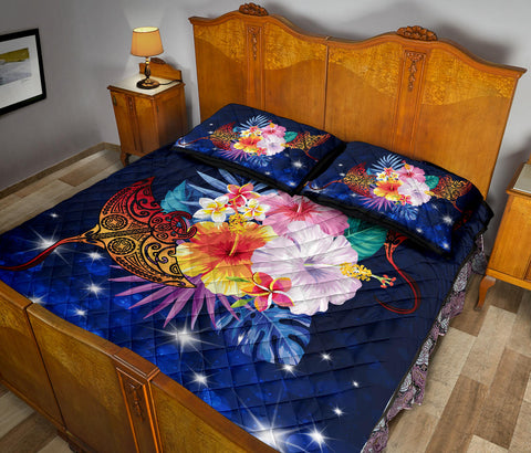 Hawaii Couple Manta Ray Plumeria Hibiscus Tropical Polynesian Quilt Bed Set - Bling Style - AH - JA