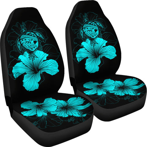 Hawaii Hibiscus Car Seat Cover - Turtle Map - Turquoise - AH J9