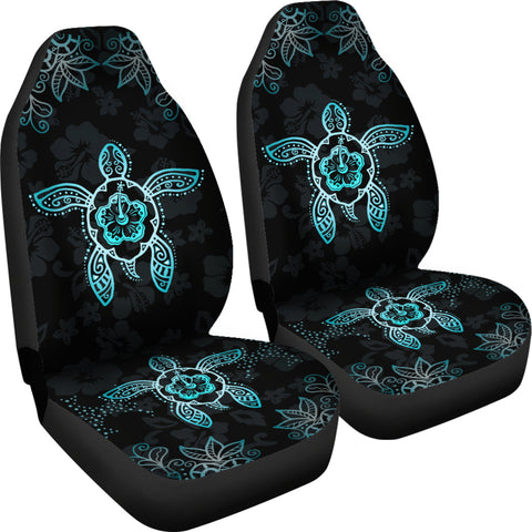 Image of Hawaii Blue Turtle And Hibiscus Car Seat Covers - AH - Alohawaii